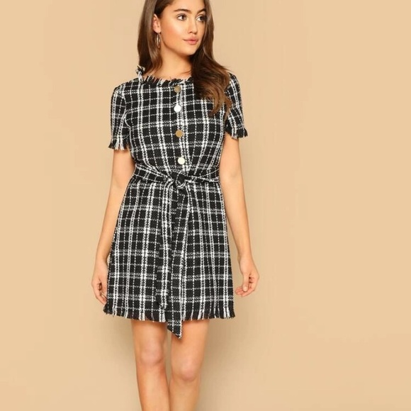 Dresses & Skirts - Frayed edge tweed dress